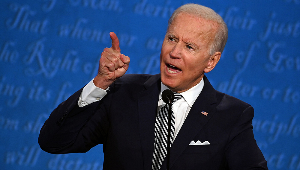 Democratic Presidential candidate and former US Vice President Joe Biden speaks during the first presidential debate at the Case Western Reserve University and Cleveland Clinic in Cleveland, Ohio on September 29. | Jim Watson, AFP via Getty Images