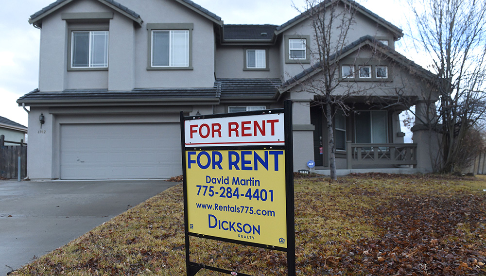 A house is advertised for rent in Wingfield Springs in Sparks on Jan. 10, 2018. Reno-Sparks real estate posted several records in 2017. | Andy Barron/Reno Gazette Journal