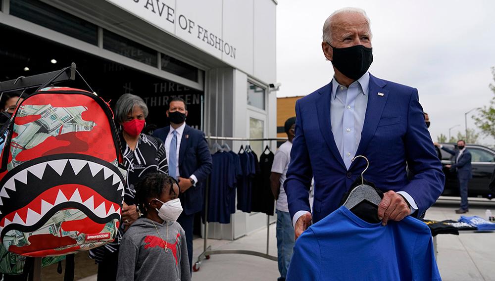 Democratic presidential candidate former Vice President Joe Biden shops for his grandchildren at Three Thirteen in Detroit, Wednesday, Sept. 9, 2020. Biden is visiting Michigan for campaign events. | Patrick Semansky, AP