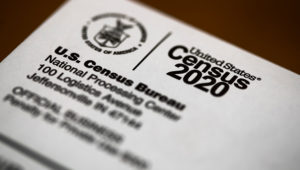 This March 19, 2020 photo shows an envelope containing a 2020 census letter mailed to a U.S. resident, in Glenside, Pa. (AP Photo/Matt Rourke)