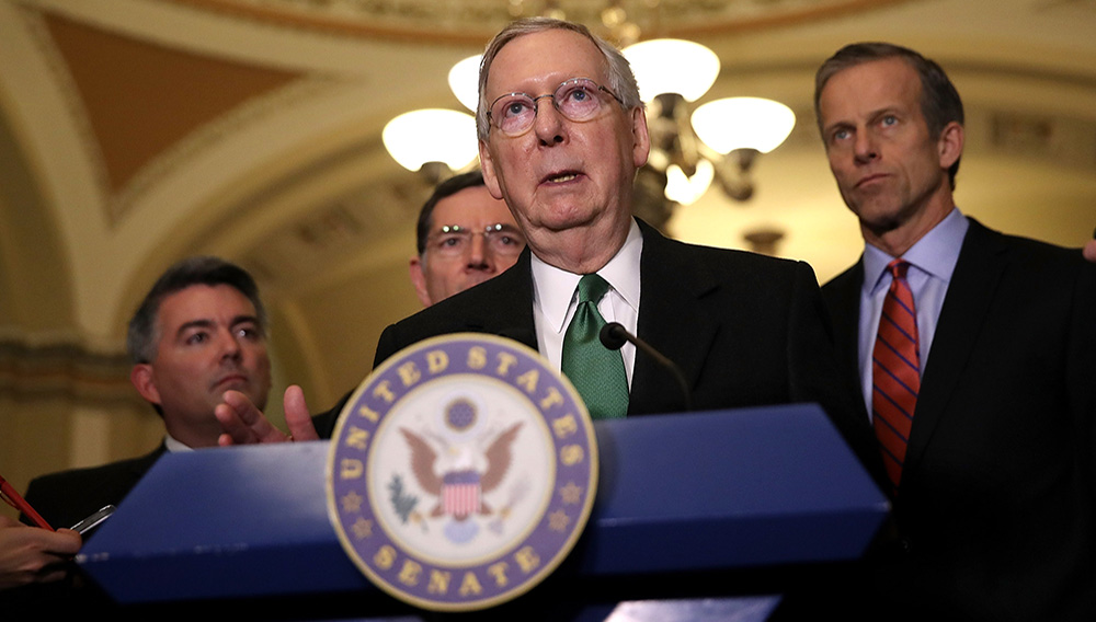 Senate Majority Leader Mitch McConnell (R-KY) speaks to reporters during a news conference on Capitol Hill following a policy lunch on March 7, 2017 in Washington, DC. | Justin Sullivan—Getty Images