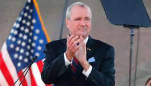 FILE- In this Aug. 25, 2020 file photo, New Jersey Gov. Phil Murphy speaks during his 2021 budget address at SHI Stadium at Rutgers University in Piscataway, NJ. (AP Photo/Noah K. Murray, File)