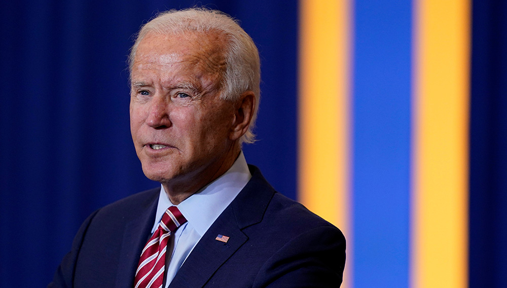 Democratic presidential candidate Joe Biden speaks during a Hispanic Heritage Month event, September 15, in Kissimmee, Florida.   Credit: Associated Press