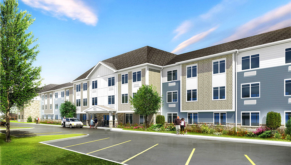 Kenzie Senior Residences is under construction on East Kensington Road, across from the Randhurst Village Shopping Center in Mount Prospect, after nearly 3 years of planning, zoning and development financing hurdles. The 74-unit property will offer independent living. (Photo: Village of Mount Prospect)