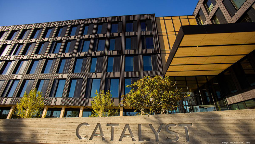 The Catalyst building in Spokane, Wash., home to Eastern Washington University and the first tall wood office building in the state, Sept. 9, 2020. (Rajah Bose/The New York Times)