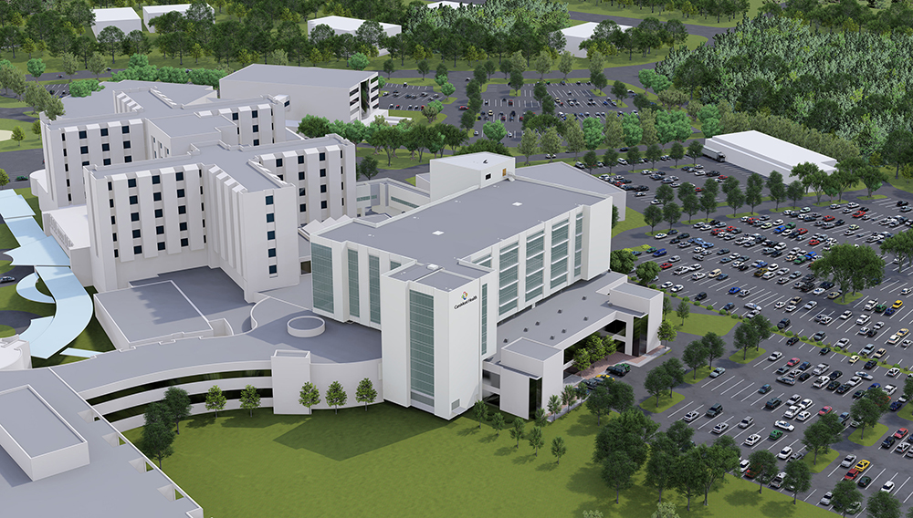 Rendering of the new Critical Care Tower at CaroMont Regional Medical Center.