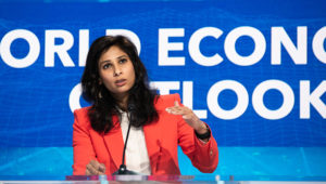 Gita Gopinath, Chief Economist, speaking at The World Economic Outlook event, during the 2020 Annual Meetings at the International Monetary Fund in Washington, DC, on October 13, 2020. IMF Photo/ Eman Mohammed