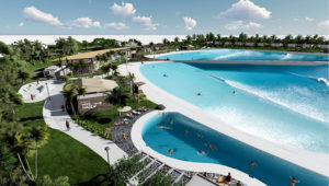 A visualization of the WaveGarden at Willow Lakes on West Midway Road in Fort Pierce, a surfing and entertainment village that received a first set of zoning approvals from the Fort Pierce City Commission, Sept 21, 2020. | Image from Bohler.