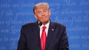 US President Donald J. Trump reacts as he and Democratic candidate Joe Biden participate in the final presidential debate. | Source: EPA