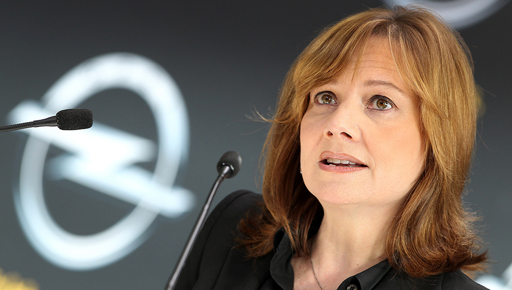 Mary Barra, CEO of US carmaker General Motors GM addresses the media during a news conference at the headquarters of the company's German subsidiary Opel in Ruesselsheim, on January 27, 2014. | DANIEL ROLAND/AFP/Getty Images
