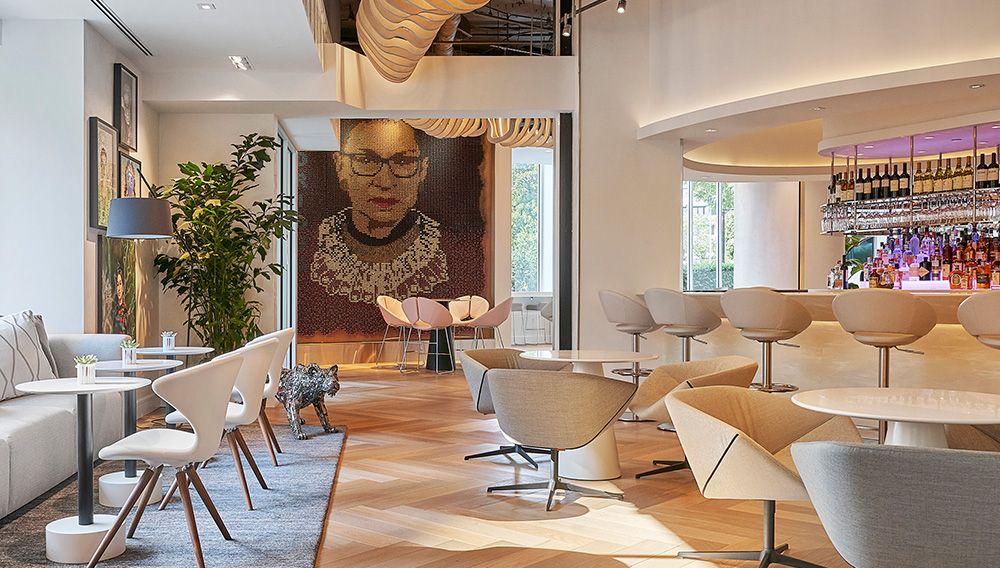 Conceived by Andrea Sheehan and produced by Julie Coyle Studios, an extraordinary portrait of the late, honorable Justice Ruth Bader Ginsburg dominates the hotel's lobby. Photo Credit: Mike Schwartz Photography