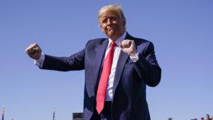 President Donald Trump dances after speaking at a campaign rally at Prescott Regional Airport, Monday, Oct. 19, 2020, in Prescott, Ariz. (AP Photo/Alex Brandon)