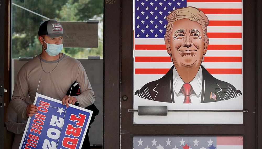 Salem, NH - 10/3/2020 Tom Anderson departs The Trump Super Store in Salem, NH on October 03, 2020. (Craig F. Walker/Globe Staff)