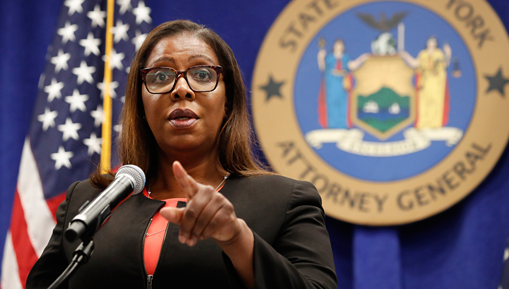 FILE- In this Aug. 6, 2020 file photo, New York State Attorney General Letitia James takes a question at a news conference in New York. (AP Photo/Kathy Willens, File)