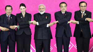 Prime Minister Narendra Modi with Cambodia's Prime Minister Hun Sen, New Zealand's Prime Minister Jacinda Ardern, Chinese Premier Li Keqiang and Thai Prime Minister Prayuth Chan-Ocha at the 3rd RCEP summit in Bangkok (Reuters)