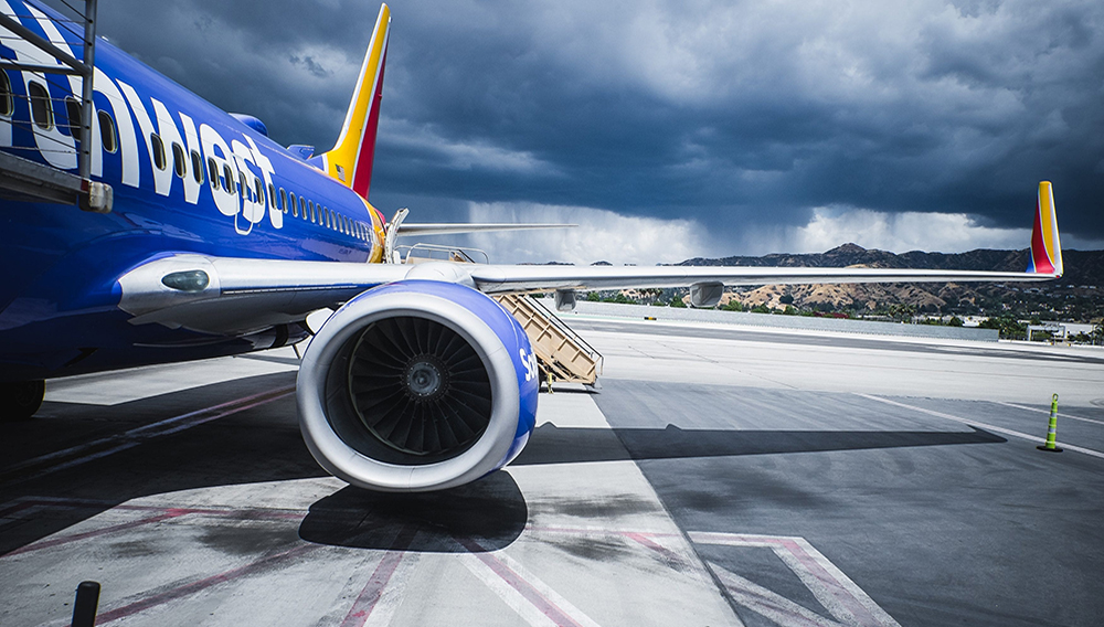 A close up shot of one of the engines in an airplane sitting at Bob Hope Airport.   Photo: Owen CL