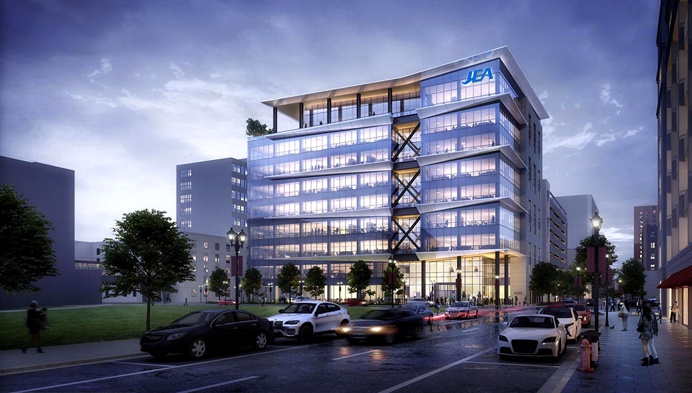This rendering shows the new building the Ryan Companies is constructing as the future JEA headquarters in downtown Jacsonville. | Photo: Ryan Companies.