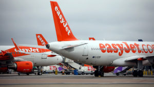 Passenger aircraft, operated by Easyjet Plc, sit parked at London Luton Airport in Luton. Photographer: Chris Ratcliffe/Bloomberg