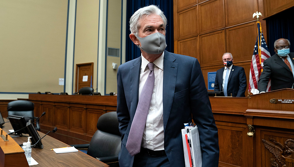 Jerome Powell, chairman of the U.S. Federal Reserve, departs a House Select Subcommittee on the Coronavirus Crisis hearing in Washington, D.C., U.S., September 23, 2020. Stefani Reynolds/Pool via REUTERS