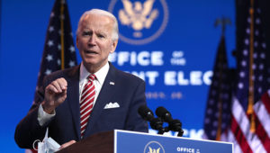 President-elect Joe Biden delivered remarks about the US economy during a press briefing at the Queen Theater on Monday in Wilmington, Delaware. | JOE RAEDLE/GETTY