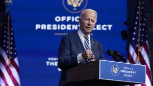 President-elect Joe Biden speaks at The Queen theater, Tuesday, November 10, 2020, in Wilmington, Delaware. (AP Photo/Carolyn Kaster)