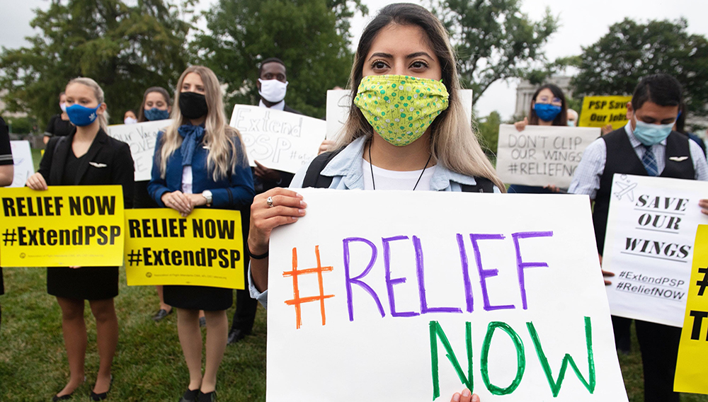 Aviation workers hold a protest organized by the Association of Flight Attendants outside the U.S. Capitol in Washington, D.C., on Sept. 9, 2020. Saul Loeb   AFP   Getty Images