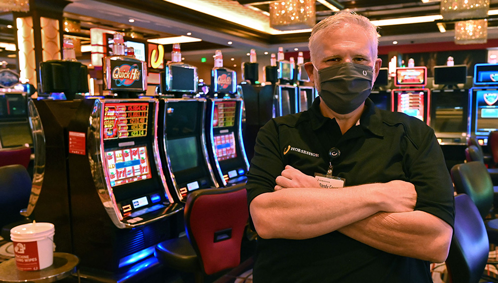 Randy Conroy, vice-president and general manager of the Horseshoe Casino, discusses new protocols in place to curtail the spread of the coronavirus when the casino is permitted by the city to reopen for business. (Amy Davis/Baltimore Sun)