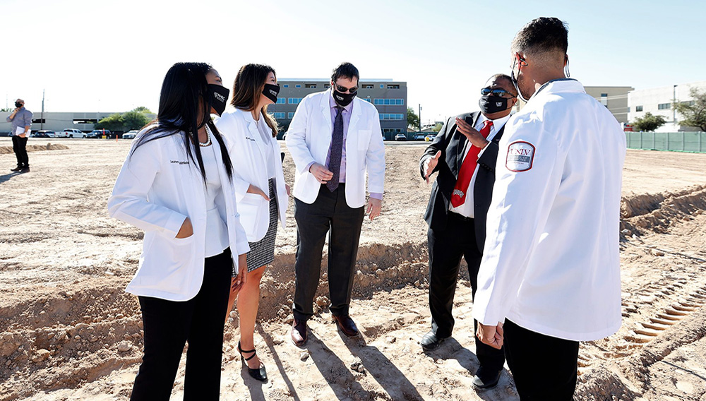 Dr. Marc Kahn, dean of the UNLV School of Medicine, ceremoniously breaks ground on the new Medical Education Building, which will be located in the heart of the city's medical district. (Lonnie Timmons III/UNLV Photo Services)