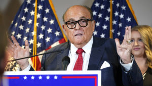 In this Nov. 19, 2020, file photo, former New York Mayor Rudy Giuliani, a lawyer for President Donald Trump, speaks during a news conference at the Republican National Committee headquarters, in Washington. (AP Photo/Jacquelyn Martin, File)