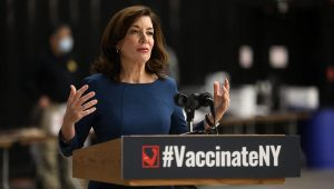New York LT. Gov. Kathy Hochul talks about the state vaccine program at the Dome Arena in Henrietta which is one of the state COVID-19 vaccination sites with today, January 20, 2021 being their first day in operation. Tina MacIntyre-Yee/Rochester Democrat And Chronicle