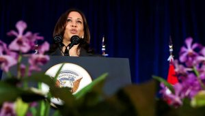 US Vice-President Kamala Harris delivers a speech at Gardens by the Bay in Singapore on Tuesday. Photo: Reuters