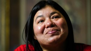 FILE - In this May 16, 2021, file photo, Keldy Mabel Gonzales Brebe speaks during an interview with The Associated Press in the Kensington section of Philadelphia. Gonzales Breve is one of the immigrant parents who were separated from their children on the U.S.-Mexico border during former President Donald Trump's administration. (AP Photo/Matt Rourke, File)