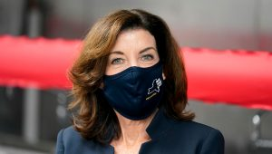 Lieutenant Governor of New York Kathy Hochul attends a ribbon cutting ceremony in the Bronx borough of New York, Tuesday, May 4, 2021. (AP Photo/Seth Wenig)
