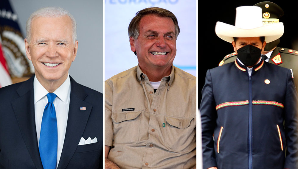 Joe Biden, Jair Bolsonaro y Pedro Castillo, presidentes de Estados Unidos, Brasil y Perú.   FOTOS: White House / Palacio de Planalto / Presidencia del Perú