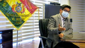 Bolivia's Economy Minister Marcelo Montenegro speaks to Reuters, in La Paz, Bolivia June 30, 2021. REUTERS/Monica Machicao
