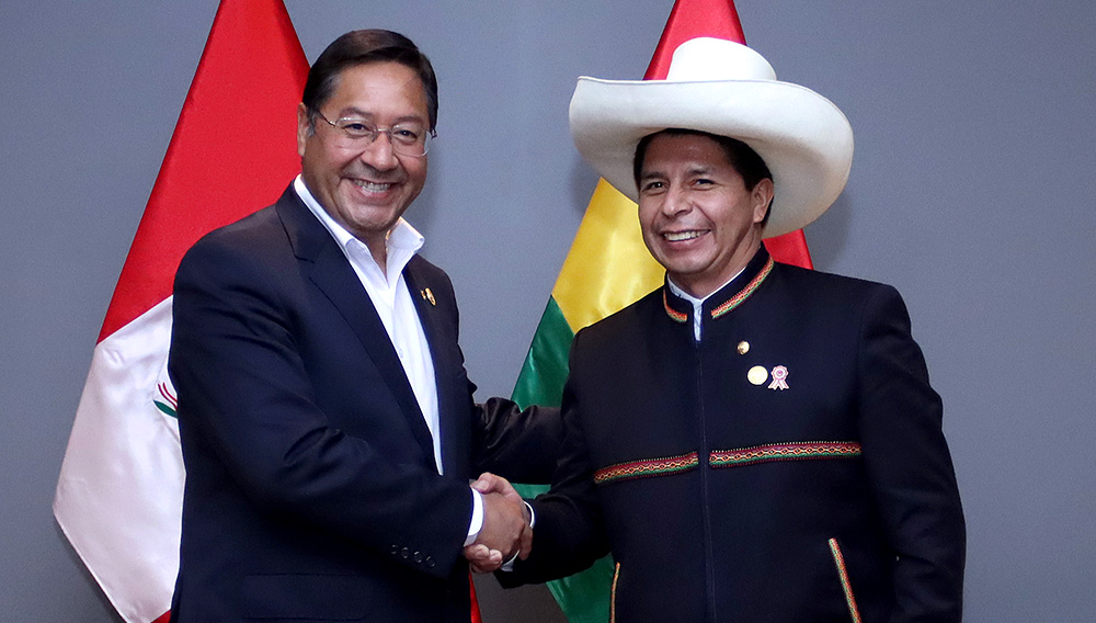 El presidente de la República del Perú, Pedro Castillo, sostuvo una reunión protocolar con su similar de Bolivia, Luis Arce Catacora.   FOTO: Presidencia de la República del Perú (Flickr)