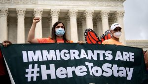 Deferred Action for Childhood Arrivals program recipients and their supporters rally outside the U.S. Supreme Court on June 18, 2020, in Washington, D.C. DREW ANGERER/GETTY IMAGES