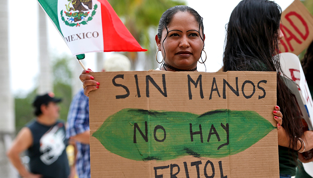 """Mariana Azpeitia, a farm worker from Mexico, holds the flag of Mexico and a sign in Spanish that say """"Without hands there are no beans"""" as she demonstrates in front of the Homestead, Fla., City Hall building Monday, May 1, 2017. (AP Photo/Wilfredo Lee)"""