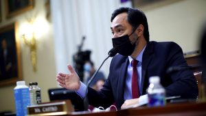 Representative Joaquin Castro (D-TX) wears a protective face mask as he speaks during a House Intelligence Committee hearing on worldwide threats, in Washington, D.C., U.S., April 15, 2021. Al Drago/Pool via REUTERS