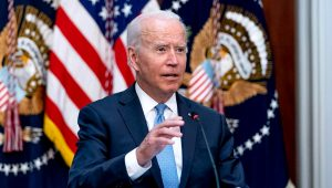 President Joe Biden speaks during a meeting with business leaders and CEOs on the COVID-19 response in the library of the Eisenhower Executive Office Building on the White House campus in Washington, Wednesday, Sept. 15, 2021. | Andrew Harnik, AP