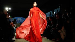 The Brandon Maxwell collection is modeled during Fashion Week, Saturday, Feb. 8, 2020, in New York. (AP Photo/John Minchillo)