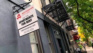 Sign advertising apartments for rent in the Upper East Side in New York City.   Adam Jeffery   CNBC