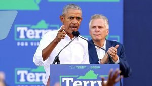 Former US President Barack Obama campaigns for Virginia Democratic gubernatorial candidate Terry McAuliffe at a campaign rally in Richmond, Virginia, on October 23, 2021. (Photo by Ryan M. Kelly / AFP)