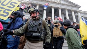 Members of the Oath Keepers are seen among supporters of U.S. President Donald Trump at the U.S. Capitol during a protest against the certification of the 2020 U.S. presidential election results by the U.S. Congress, in Washington, U.S., January 6, 2021. REUTERS/Jim Bourg