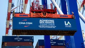 The Port of Los Angeles became the first port in the Western Hemisphere to process 10 million container units in a 12-month period. (Photo: Business Wire)
