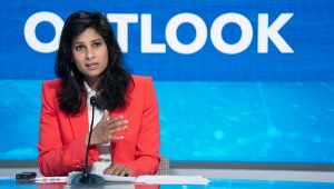 Gita Gopinath, Chief Economist and Director of the Research Department, IMF, briefs the news media on the World Economic Outlook (WEO), during the IMF Annual Meetings in Washington, DC, on October 13, 2020. IMF Photo/ Cliff Owen